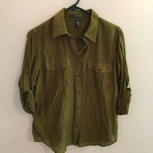 Camp Shirt Silk Blend Lauren Ralph Lauren Large